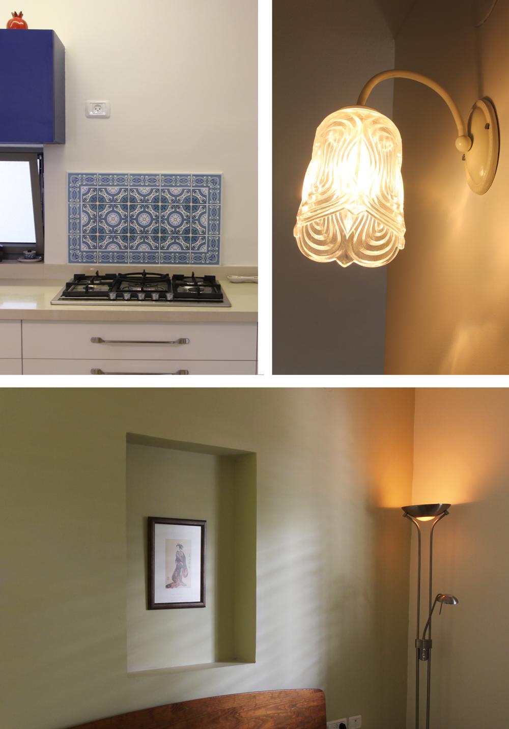 אלמנטים היוצרים אווירה – מנורה משוק הפשפשים, אריחים מודפסים מעל הכיריים, נישה בגב המיטה